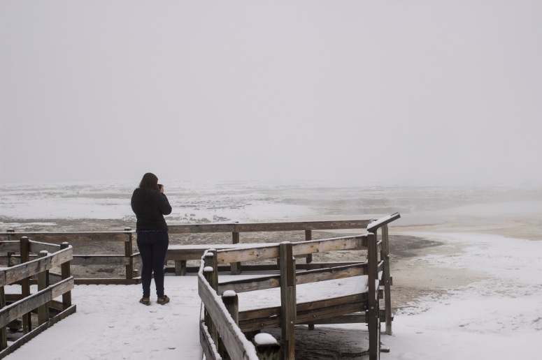 Natalie looking out into the fog