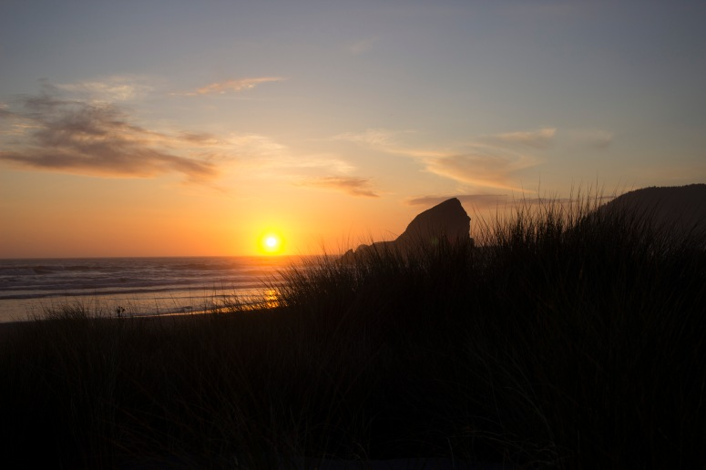 Oregon Coast - Grass, Sea and Sunset near Brookings